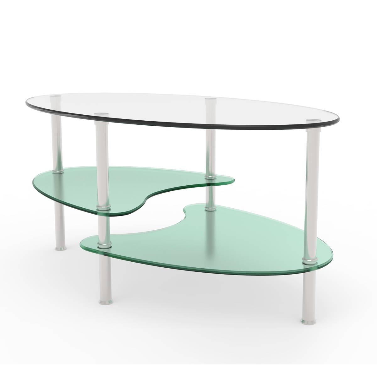 Ryan Rove Fenton 38 Inch Oval Two Tier Glass Coffee Table throughout Oval Glass Coffee Tables (Image 28 of 30)