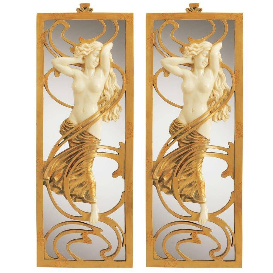 S/2 Parisian Salon Art Nouveau Mirrors Design Toscano Pd90508 In Art Nouveau Mirrors (View 17 of 25)