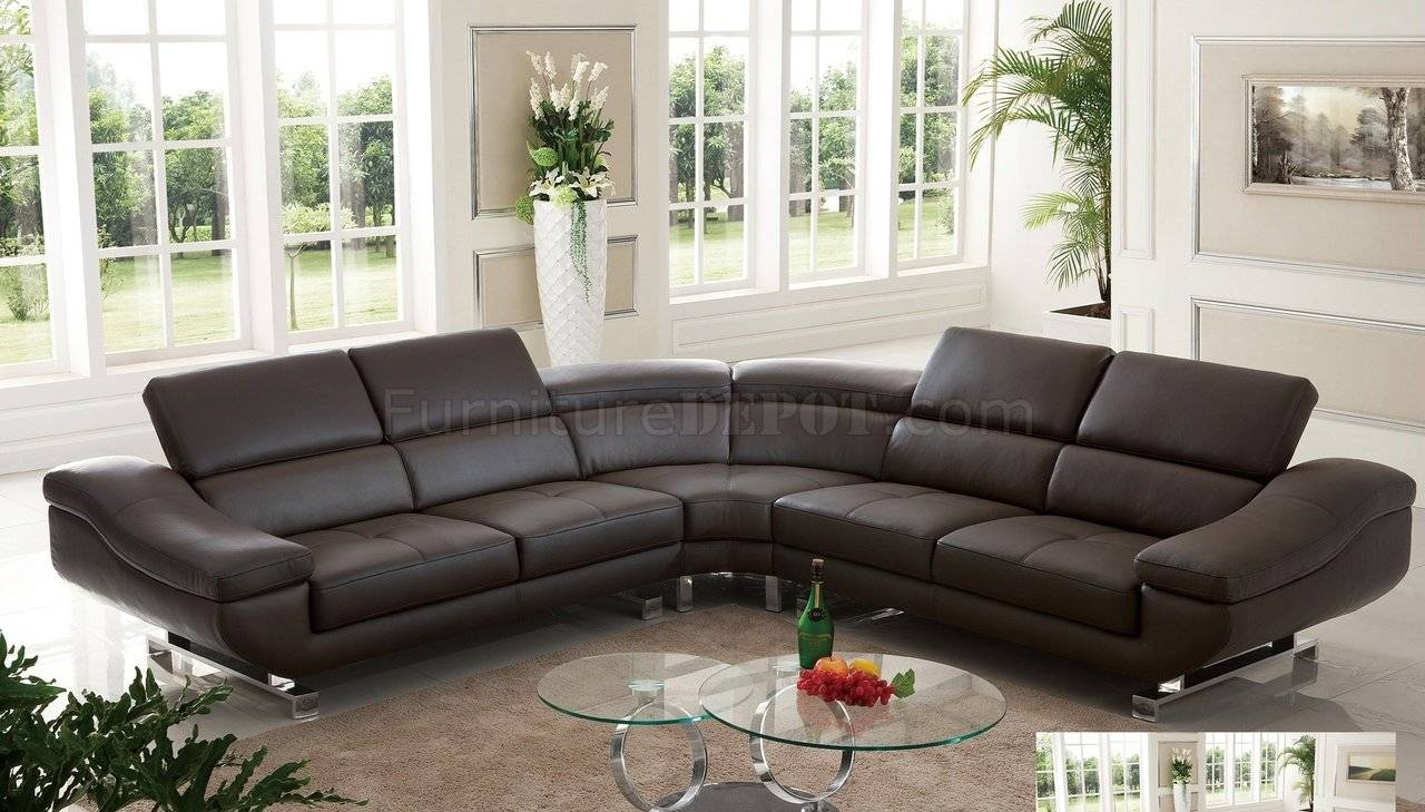 S805 Sectional Sofa In Chocolate Leatherpantek with regard to Chocolate Brown Sectional Sofa (Image 25 of 30)