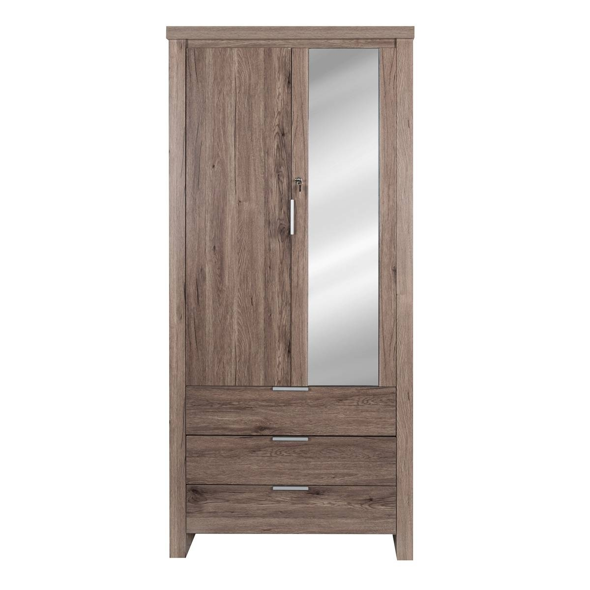 Safari 2 Door Wardrobe Mirror Oak | Wardrobes | Lifestyle Furniture inside Oak Mirrored Wardrobes (Image 10 of 15)