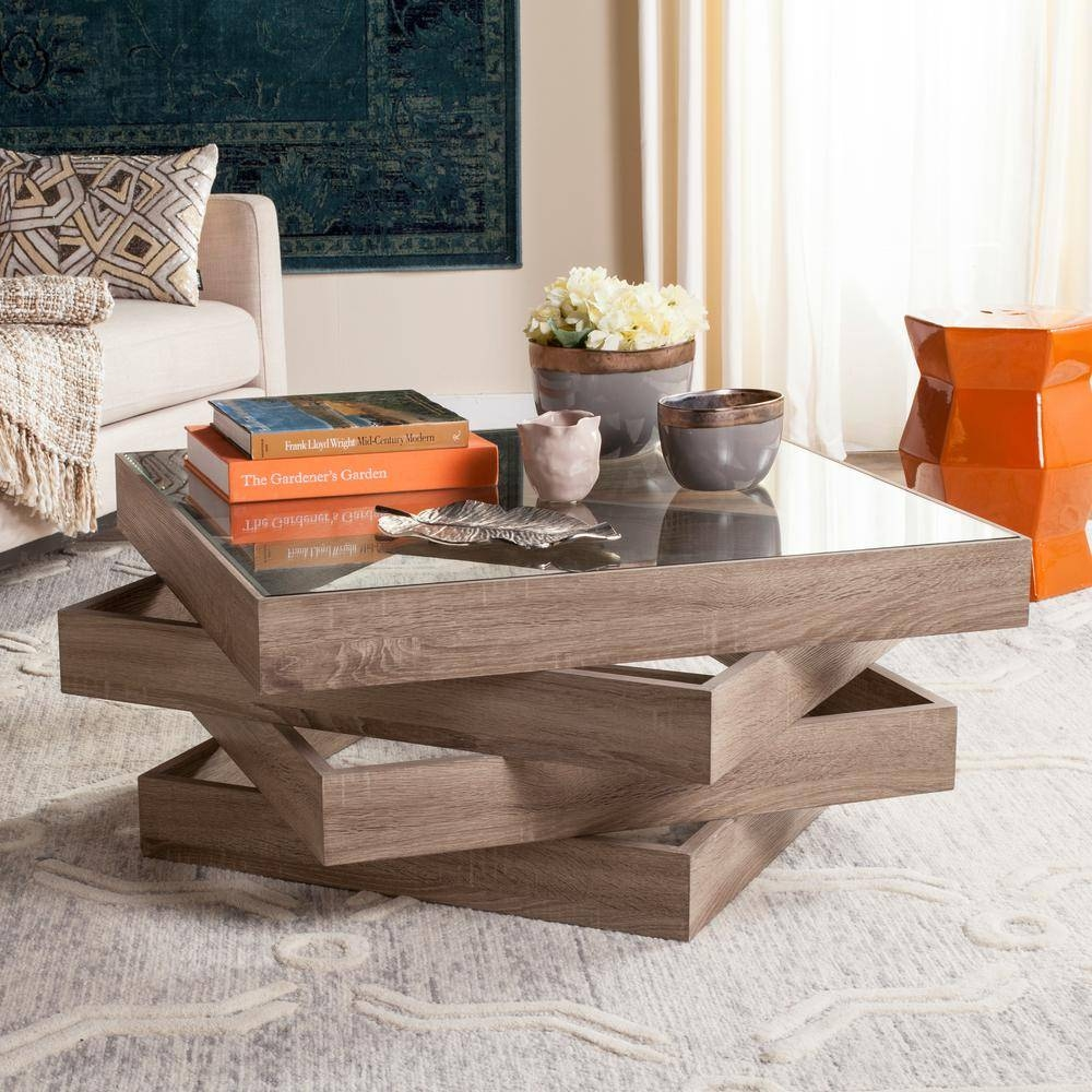 Safavieh Anwen Mid Century Geometric Wood Light Gray Coffee Table pertaining to Safavieh Coffee Tables (Image 10 of 30)