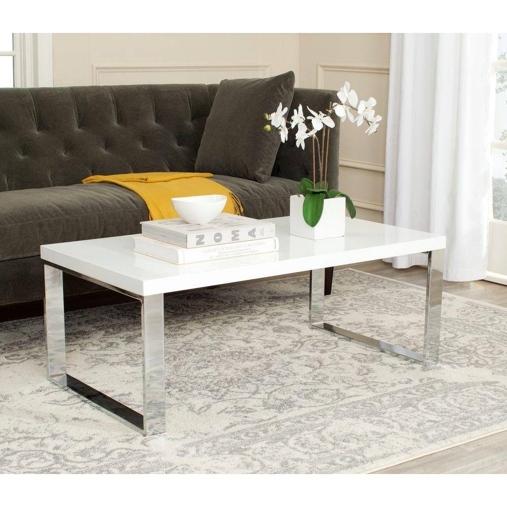 Safavieh Rockford White Coffee Table-Fox2215A - The Home Depot within White And Chrome Coffee Tables (Image 25 of 30)