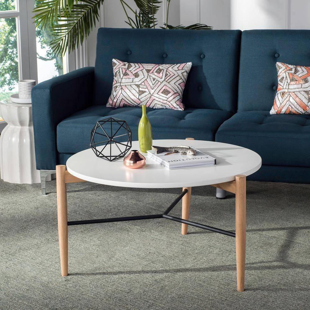 Safavieh Thyme Round White Coffee Table-Fox8204A - The Home Depot regarding Safavieh Coffee Tables (Image 21 of 30)