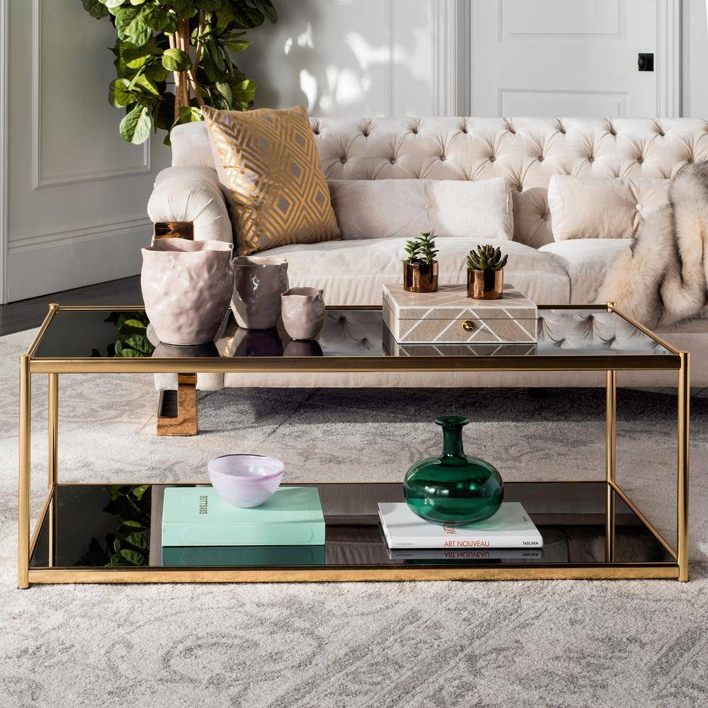 Safavieh Zola Glass/gold Coffee Table Mmt6000B   The Home Depot Intended For Glass Gold Coffee Tables (Photo 30 of 30)