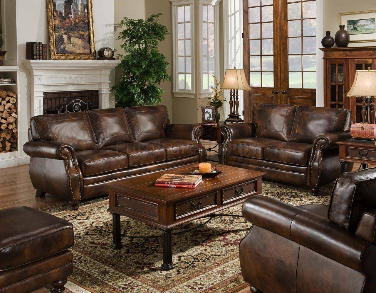 Sagle Classic Saddle Traditional Leather Sofa With Nail Head Trim intended for Traditional Leather Couch (Image 17 of 30)