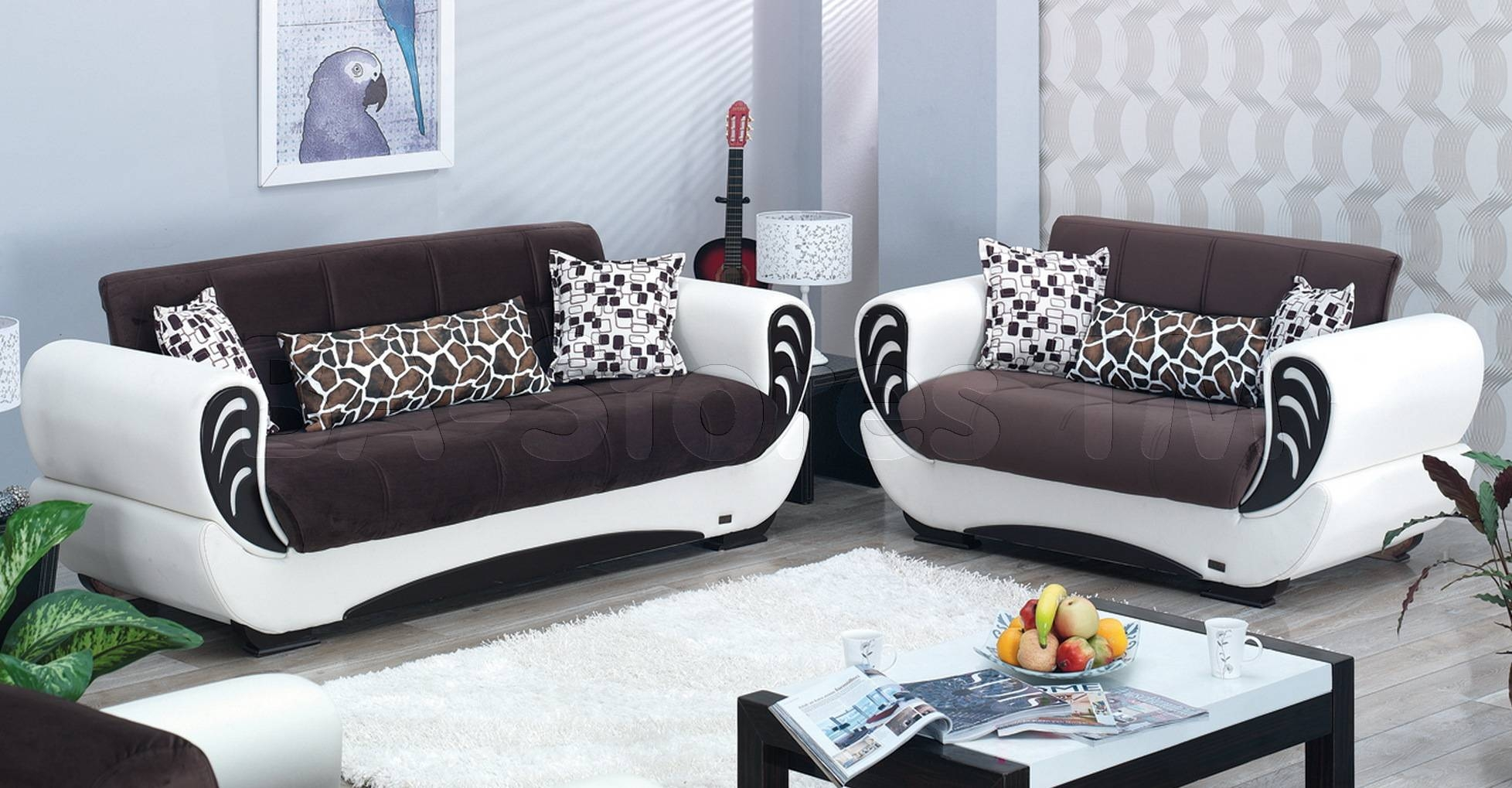 Sale: $1398.00 San Francisco 2 Pc Two-Toned Brown And White Sofa for Two Tone Sofas (Image 21 of 30)
