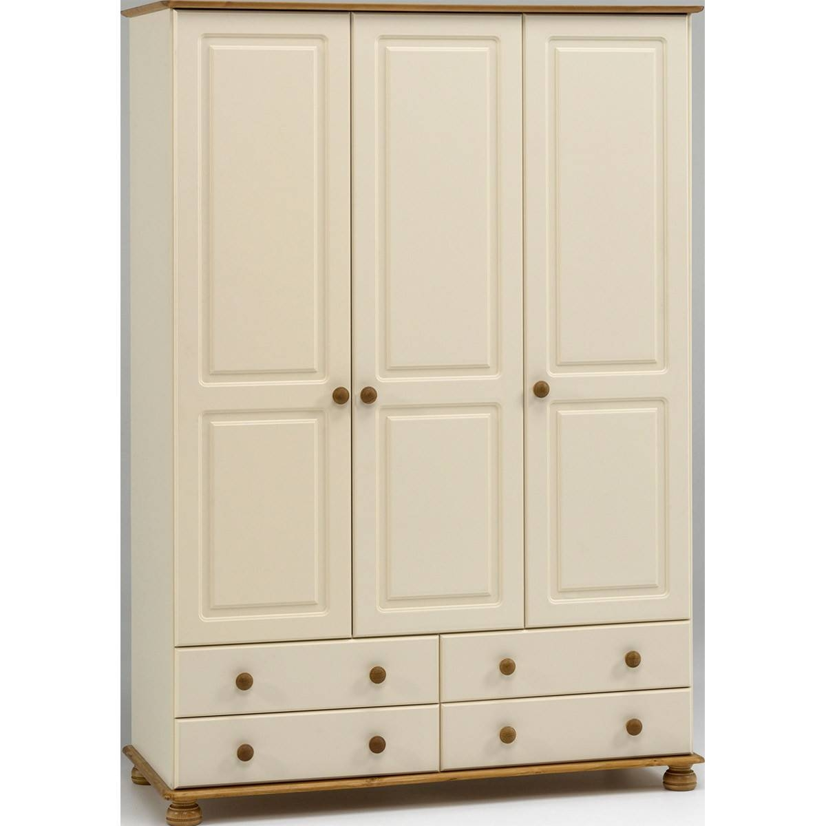 Salisbury Cream And Pine 3 Door 4 Drawer Wardrobe From The for White 3 Door Wardrobes With Drawers (Image 9 of 15)