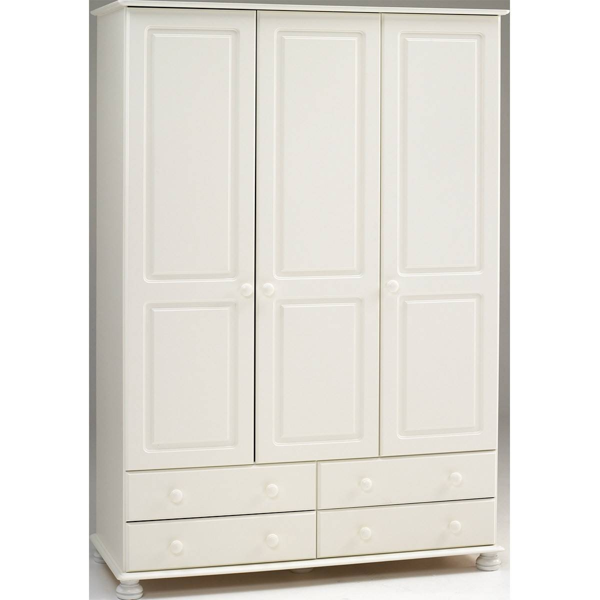 Salisbury White 3 Door 4 Drawer Wardrobe From The Original Factory pertaining to 3 Door White Wardrobes (Image 19 of 30)