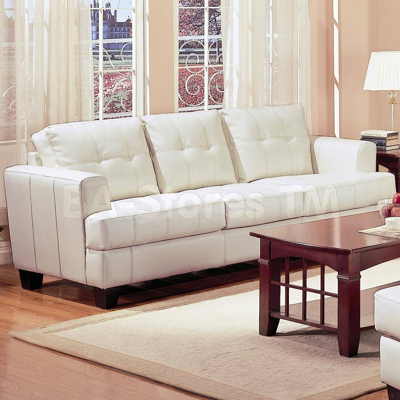 Samuel Contemporary Leather Sofa In White - Coaster Co. | Sofas for White Leather Sofas (Image 20 of 30)