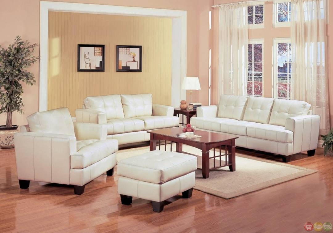 Samuel Cream Off White Bonded Leather Living Room Sofa & Loveseat within Sofa Loveseat and Chairs (Image 21 of 30)