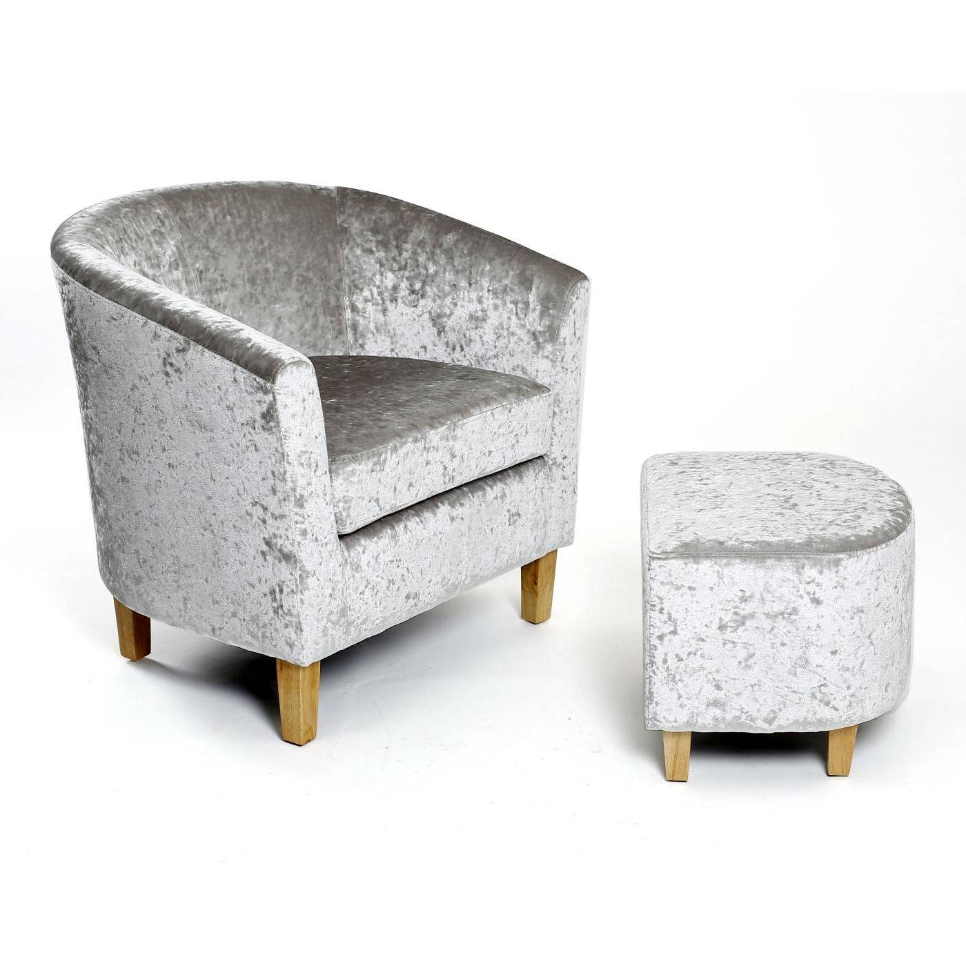 Sandringham Crushed Velvet Tub Chair And Footstool – Next Day with Velvet Footstool (Image 29 of 30)