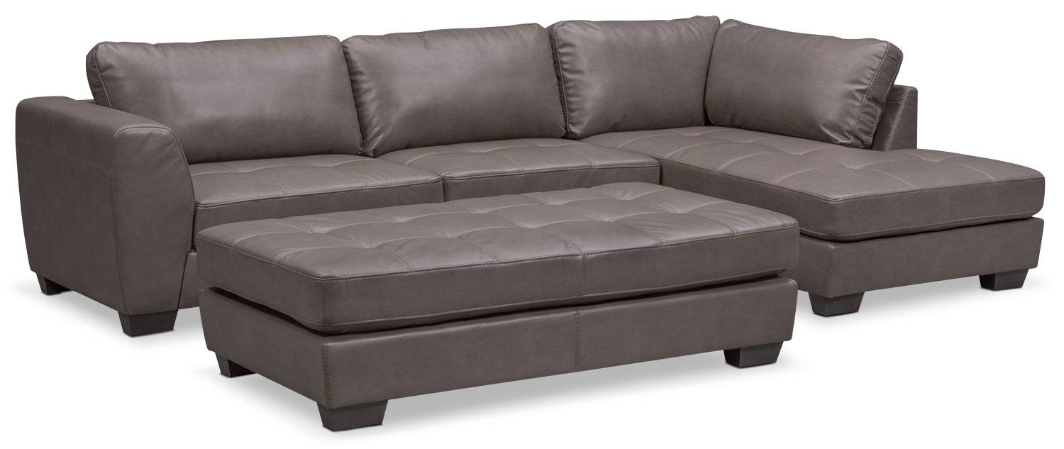 Santana 2-Piece Sectional With Right-Facing Chaise And Cocktail for Sofa With Chaise And Ottoman (Image 21 of 30)