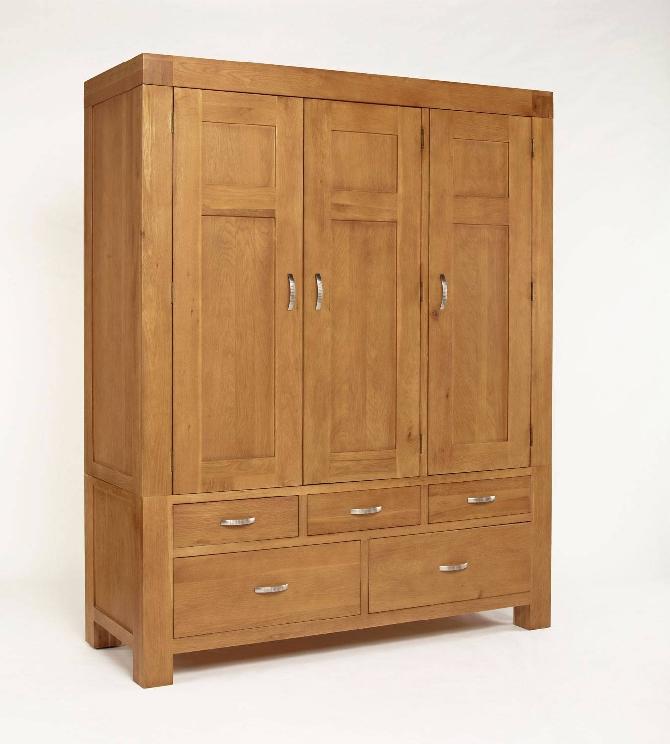 Santana Blonde Oak Triple Wardrobe. Over 50% Off with Large Oak Wardrobes (Image 9 of 15)
