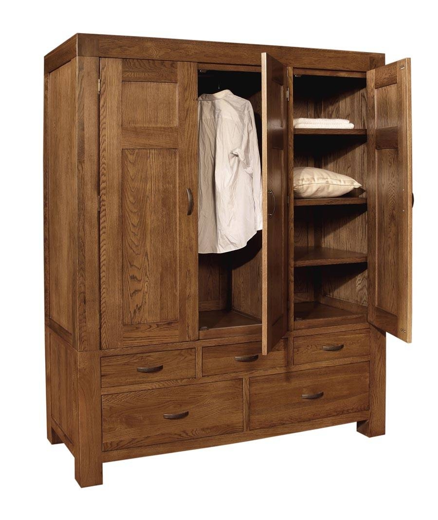 Santana Oak Triple Wardrobe for Oak Wardrobe With Drawers and Shelves (Image 26 of 30)