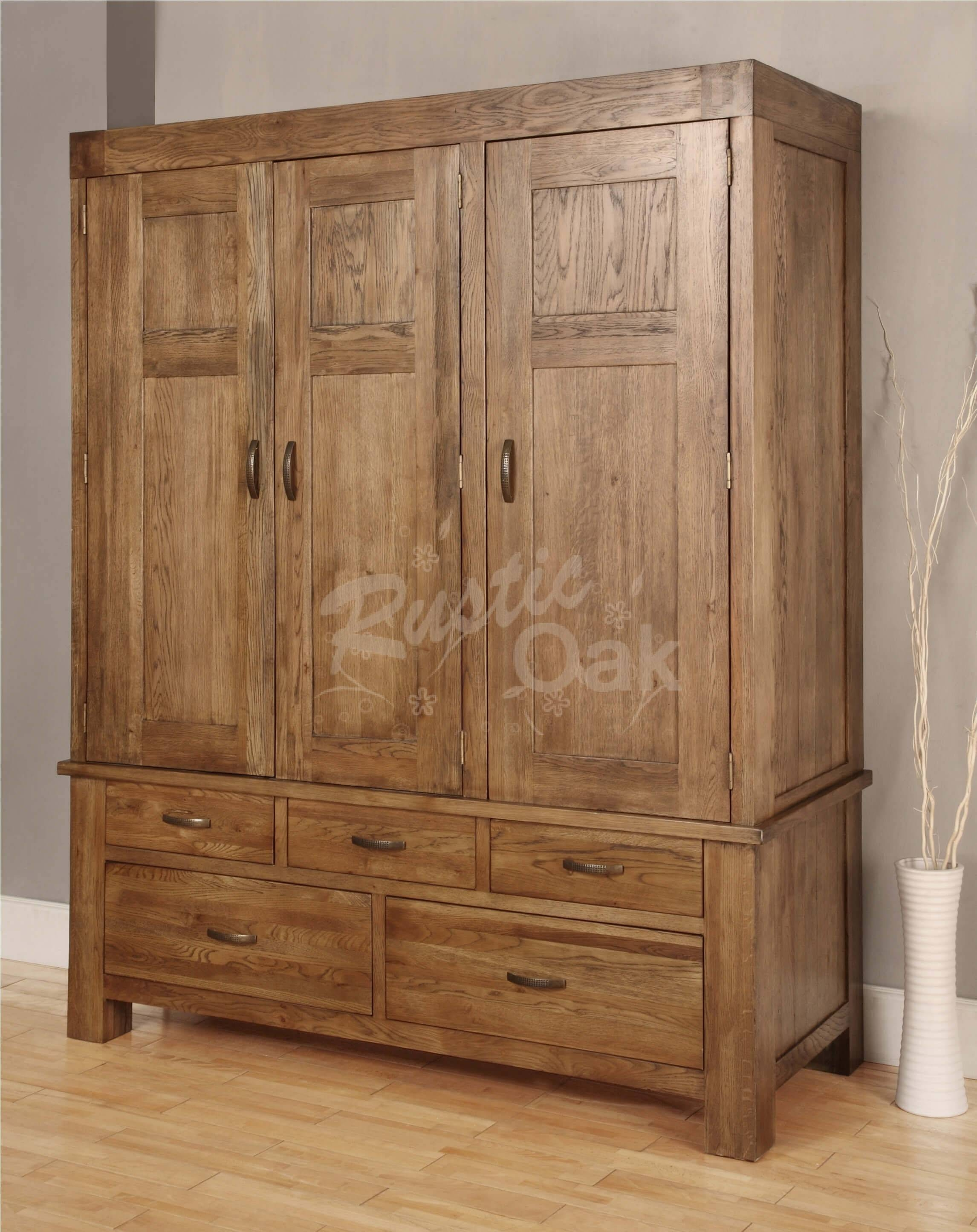 Santana Triple Wardrobe - Rustic Oak Furniture with Triple Wardrobes With Drawers (Image 13 of 15)