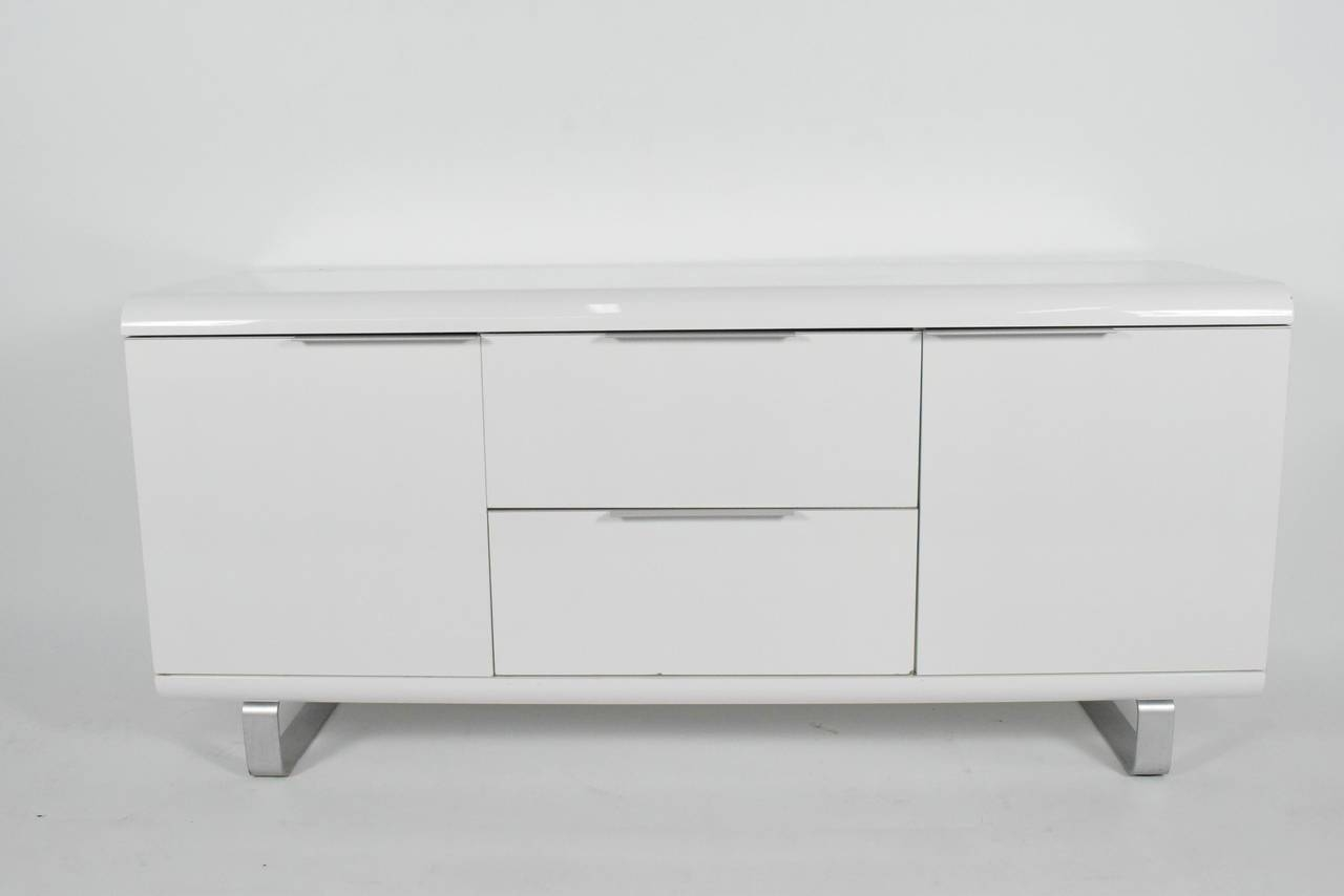 Saporiti Sideboard In White Lacquer With Chrome Legs For Sale At pertaining to White Contemporary Sideboards (Image 24 of 30)