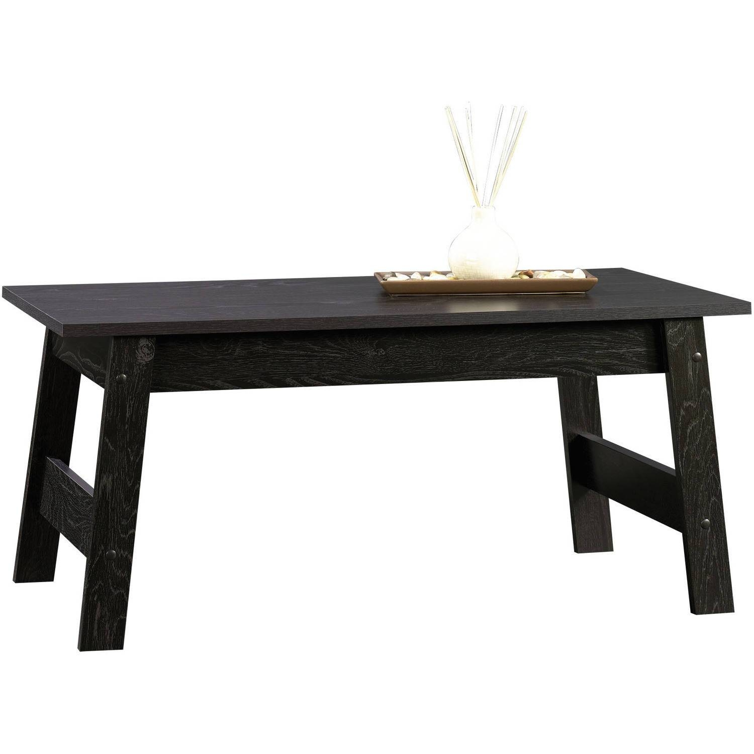 Sauder Beginnings Collection Coffee Table, Black - Walmart with Black Oval Coffee Table (Image 25 of 30)