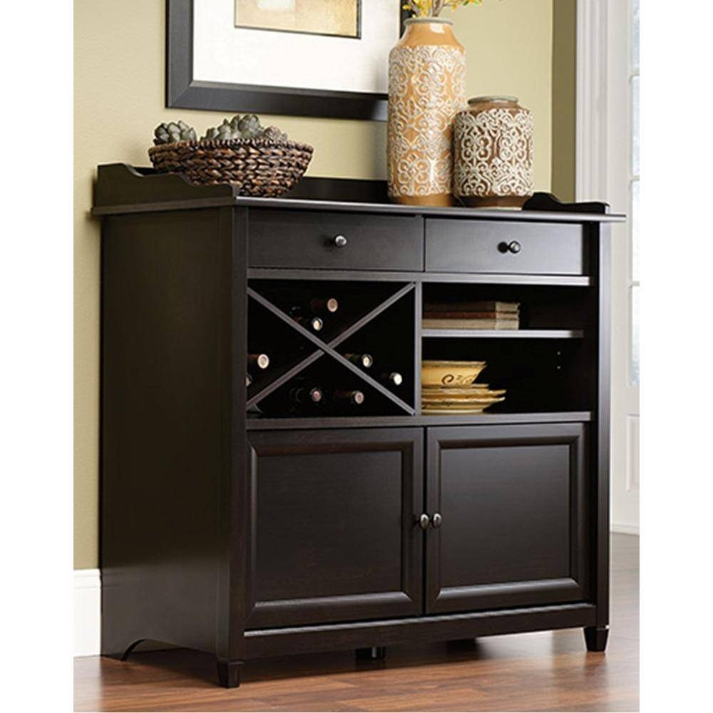 Sauder Edge Water Estate Black Buffet-414844 - The Home Depot inside Dark Sideboards Furniture (Image 10 of 30)