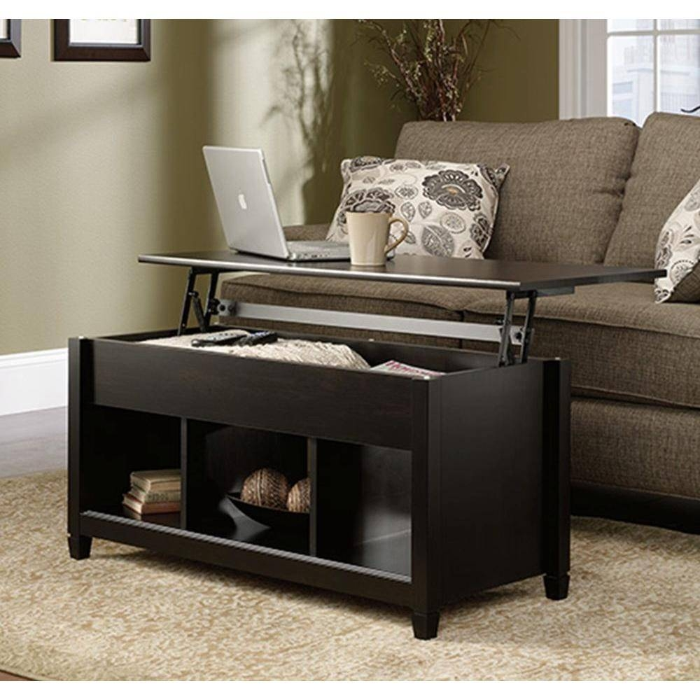 Sauder Edge Water Estate Black Built-In Storage Coffee Table for Black Coffee Tables With Storage (Image 25 of 30)