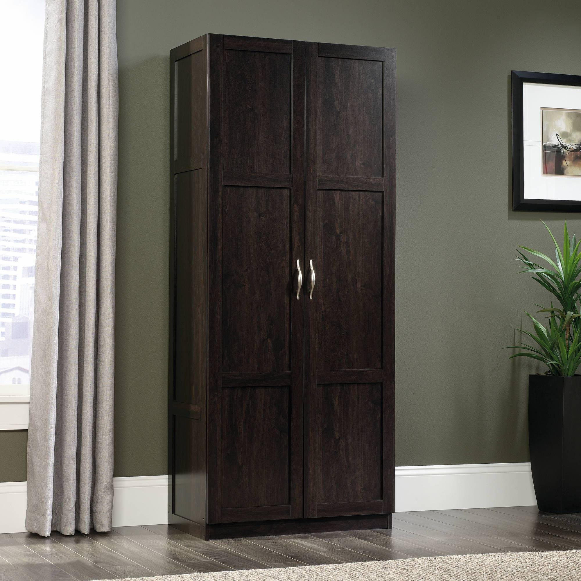 Sauder Storage Cabinet Dark Wood Finish - Walmart pertaining to Solid Dark Wood Wardrobes (Image 19 of 30)