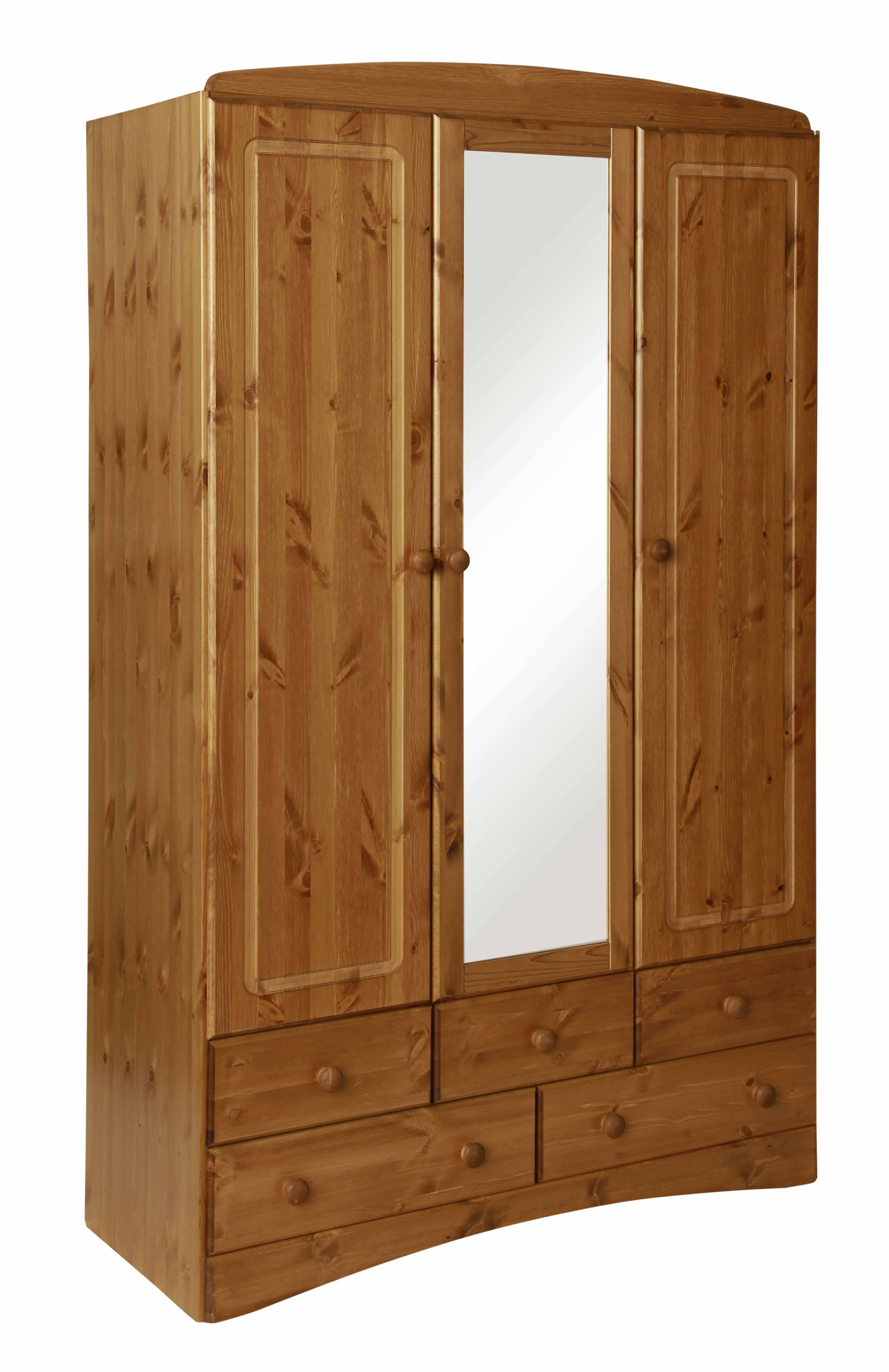 Scandi Pine 3 Door 5 Drawer Wardrobe With Mirror with 3 Door Pine Wardrobes (Image 13 of 15)