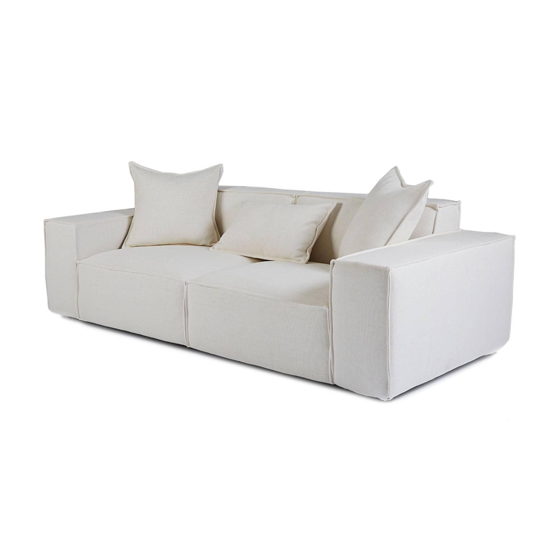 Scandinavian Mila White Fabric Sofa - 2-4 Seater Lounge regarding White Fabric Sofas (Image 24 of 30)