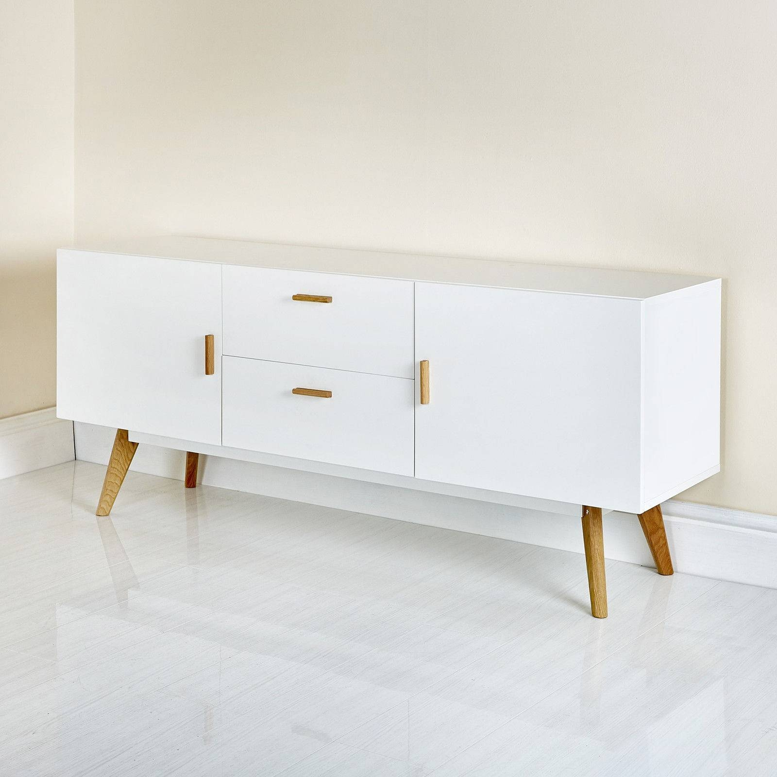 Scandinavian Retro Style White Sideboard Abreo Home Furniture in Cheap White Sideboards (Image 10 of 30)