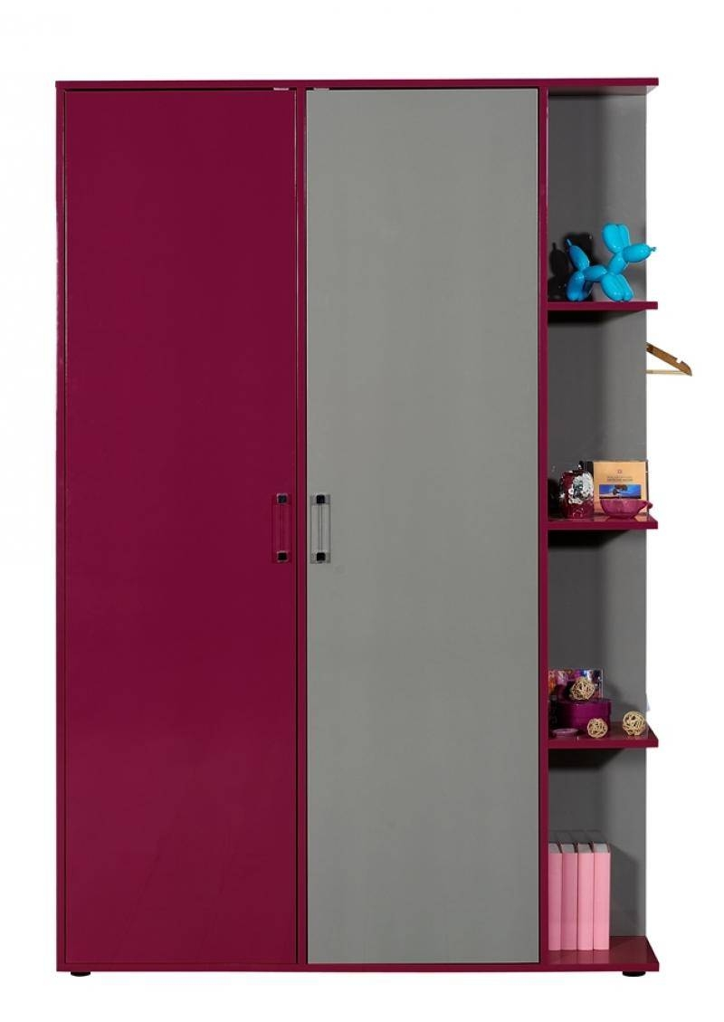 Sciae Strype Modern Wardrobe In High Gloss Grey/fuchsia Finish pertaining to Pink High Gloss Wardrobes (Image 15 of 15)