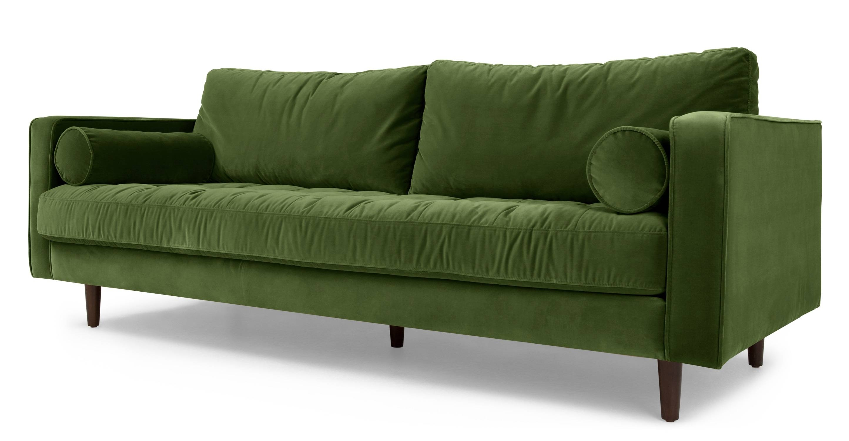 Scott 3 Seater Sofa, Grass Cotton Velvet | Made with regard to Green Sofa Chairs (Image 24 of 30)