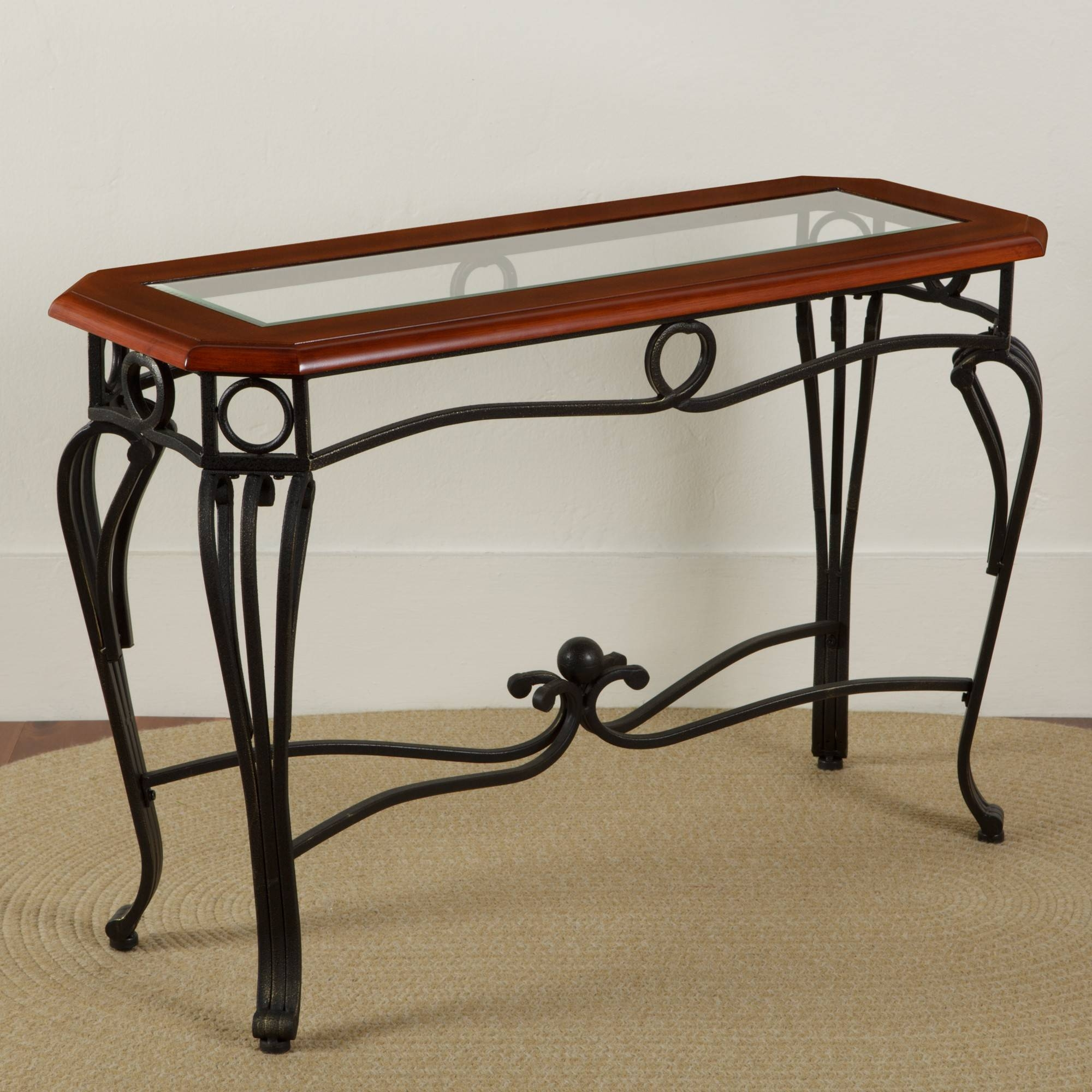 Scrolled Iron Glass Sofa Table | Sturbridge Yankee Workshop for Metal Glass Sofa Tables (Image 25 of 30)