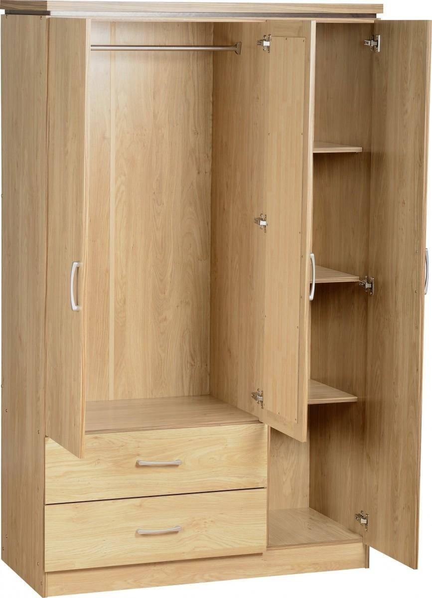 Seconique Charles Oak Veneer With Walnut Trim 3 Door And 2 Drawer Within Combi Wardrobes (Photo 1 of 15)