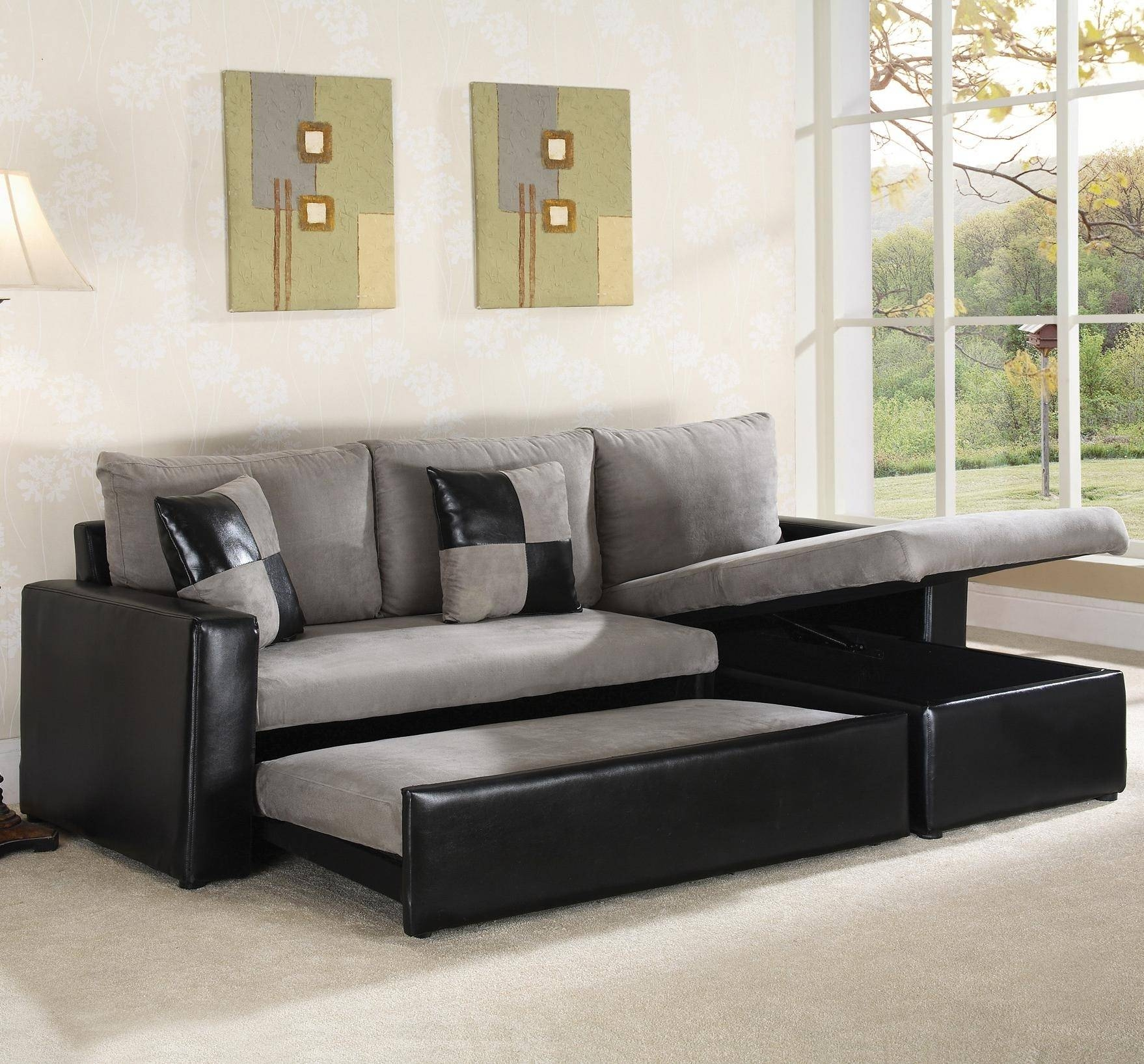 Sectional Sleeper Sofa With Storage For Small House within Black Leather Sectional Sleeper Sofas (Image 21 of 30)