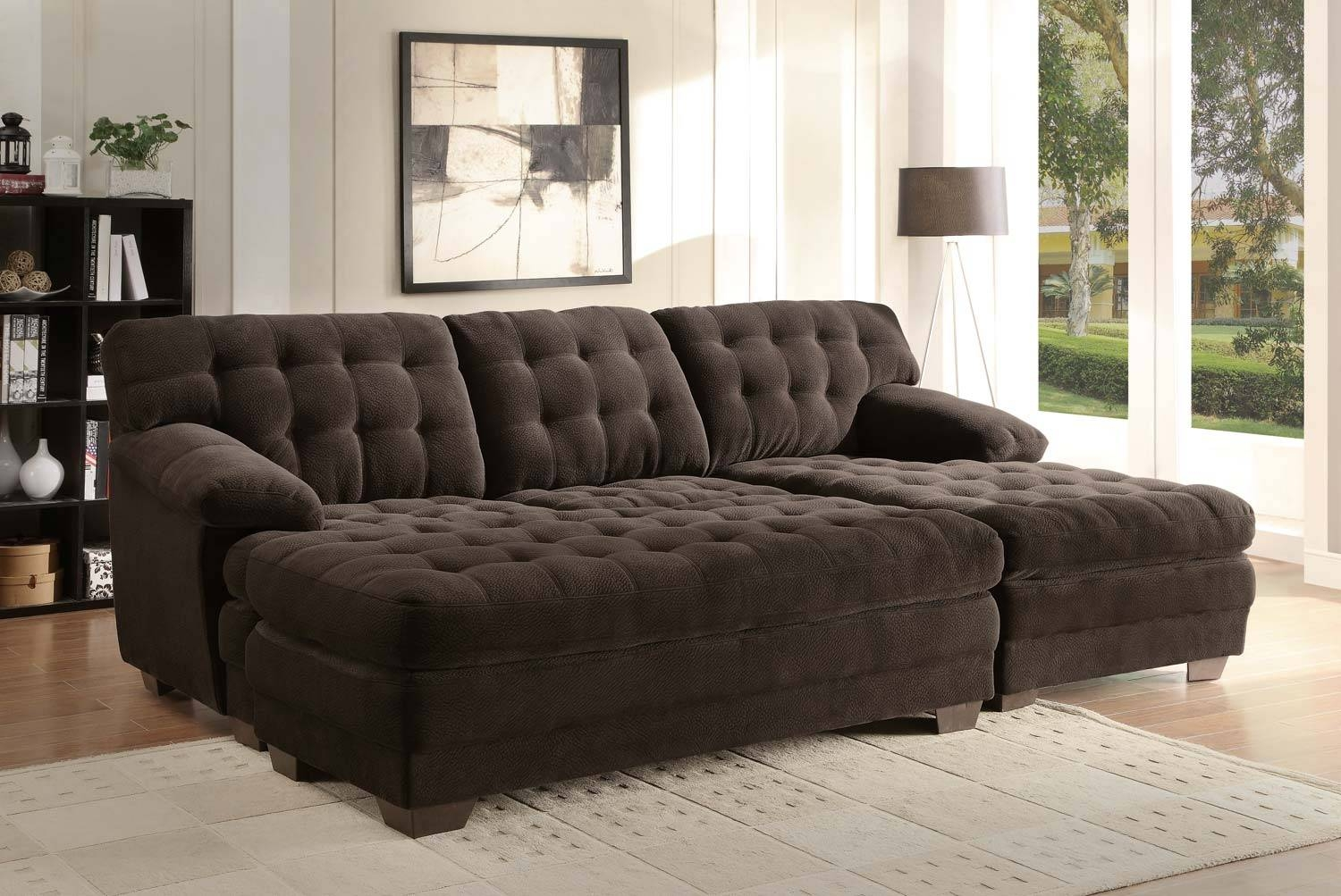 Sectional Sofa Couch Reversible Chaise Micro Suede Chocolate Regarding Sectional Sofa With Large Ottoman (Photo 13 of 30)