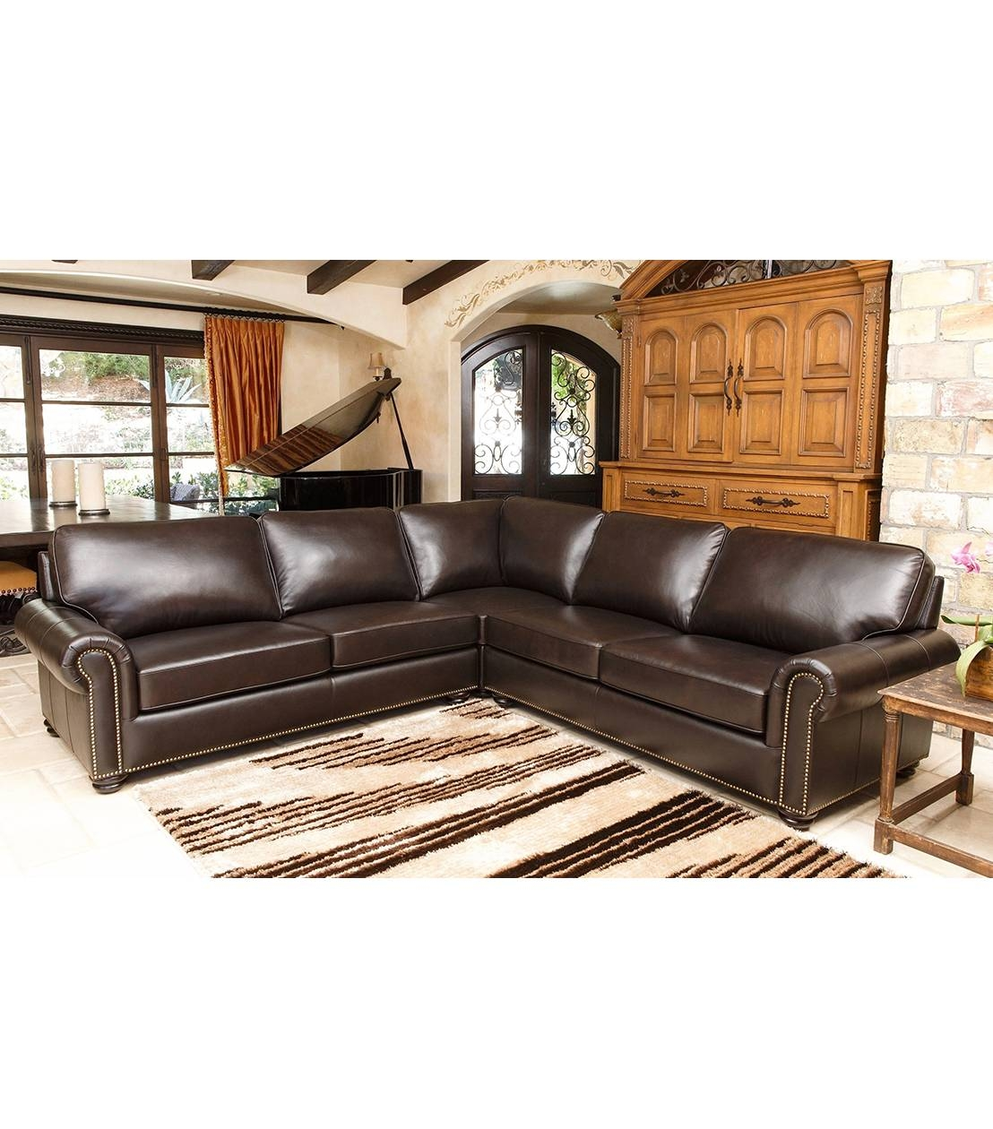 Sectionals : Delmar Leather Sectional intended for Abbyson Sectional Sofa (Image 24 of 30)
