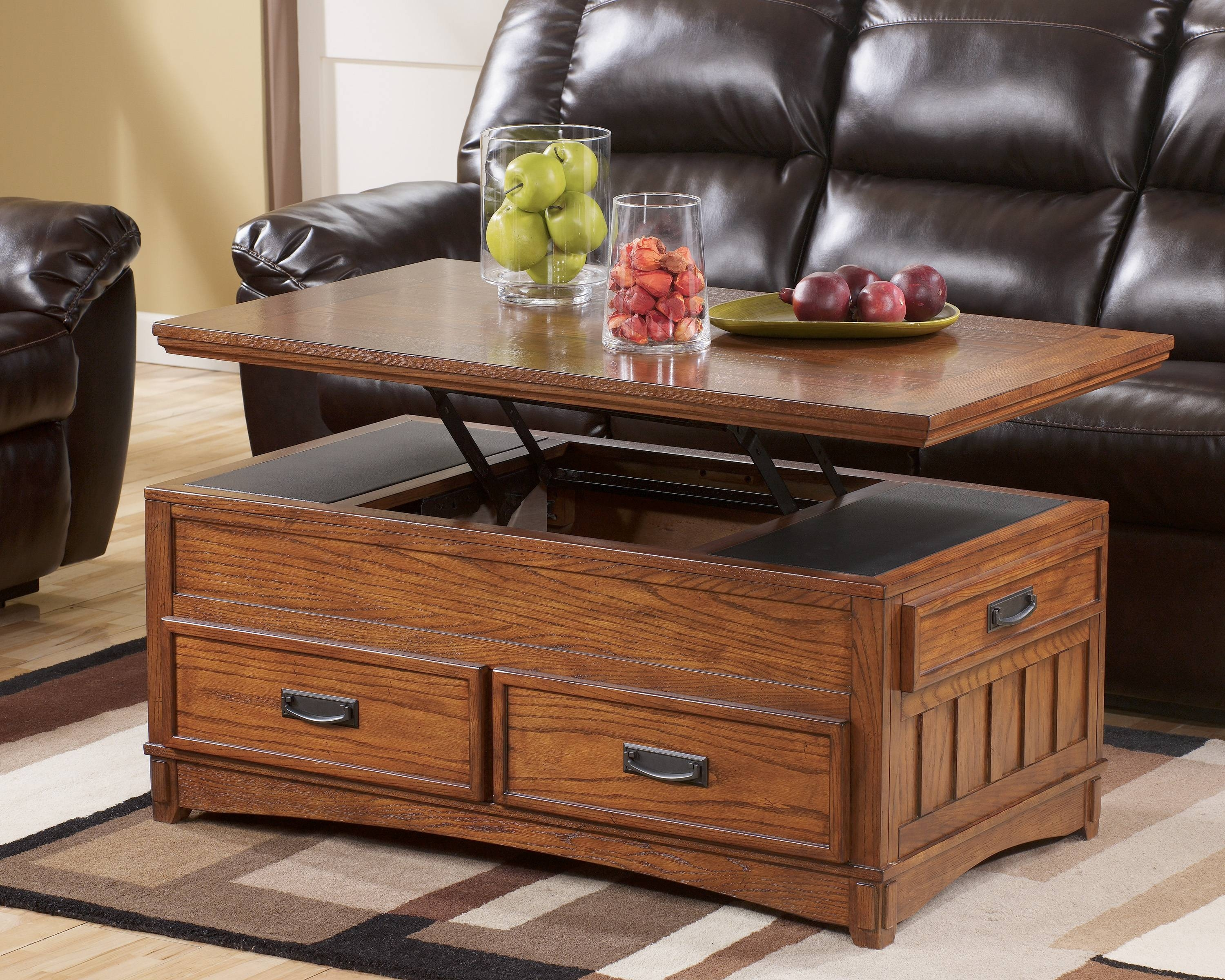 Sedona Lift Top Coffee Table In Java With 4 Storage Ottomans in Coffee Tables With Rising Top (Image 25 of 30)