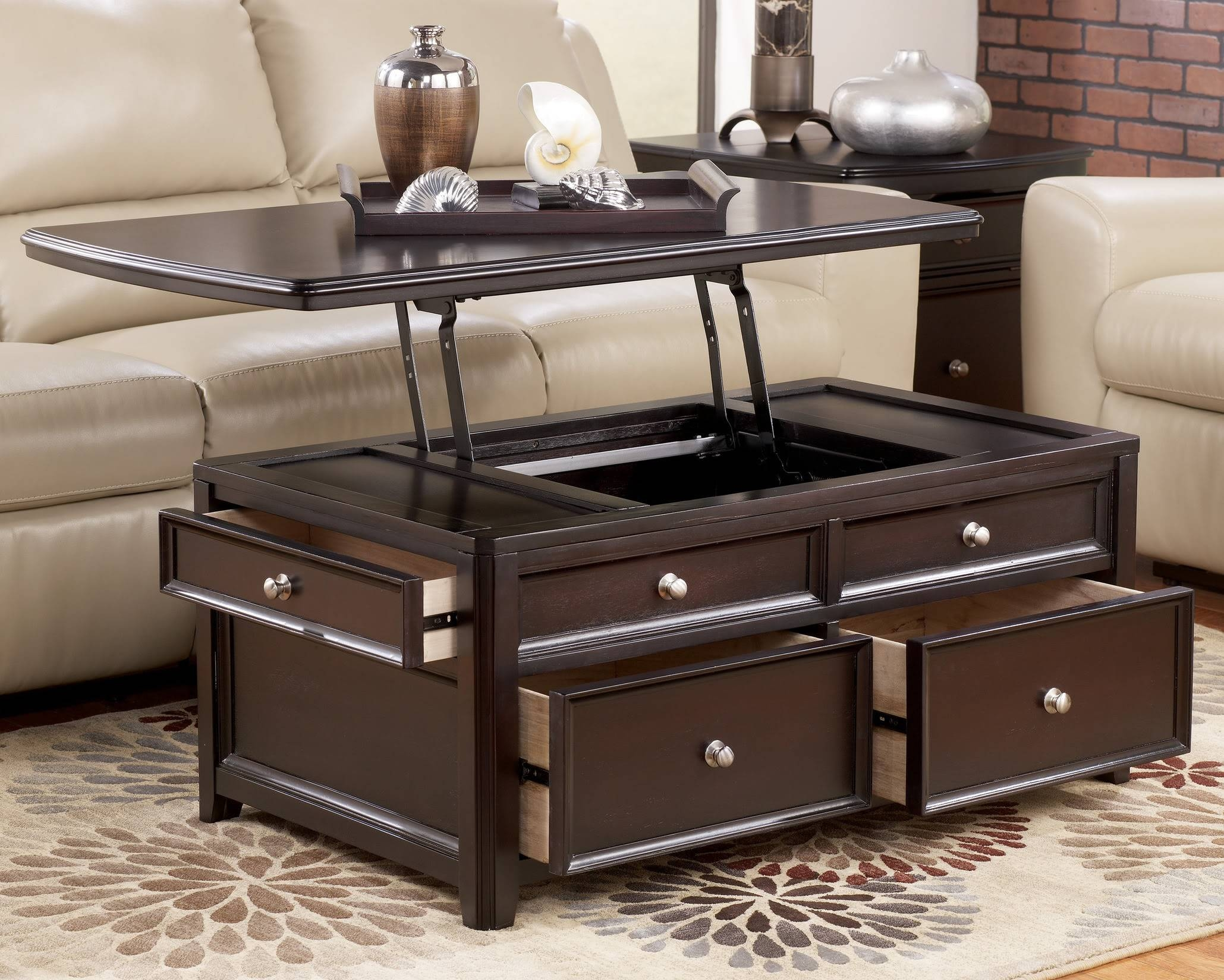 Sedona Lift Top Coffee Table In Java With 4 Storage Ottomans pertaining to Coffee Tables With Lift Top And Storage (Image 11 of 14)
