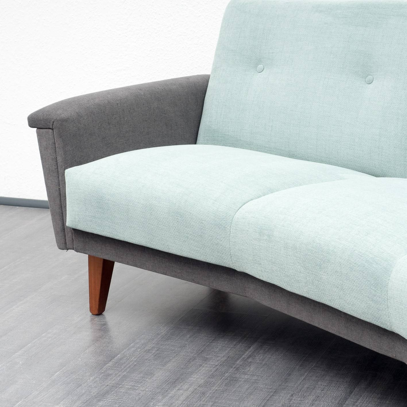 Semicircular Sofa In Light Turquoise And Grey Fabric - 1950S in Semicircular Sofa (Image 25 of 30)