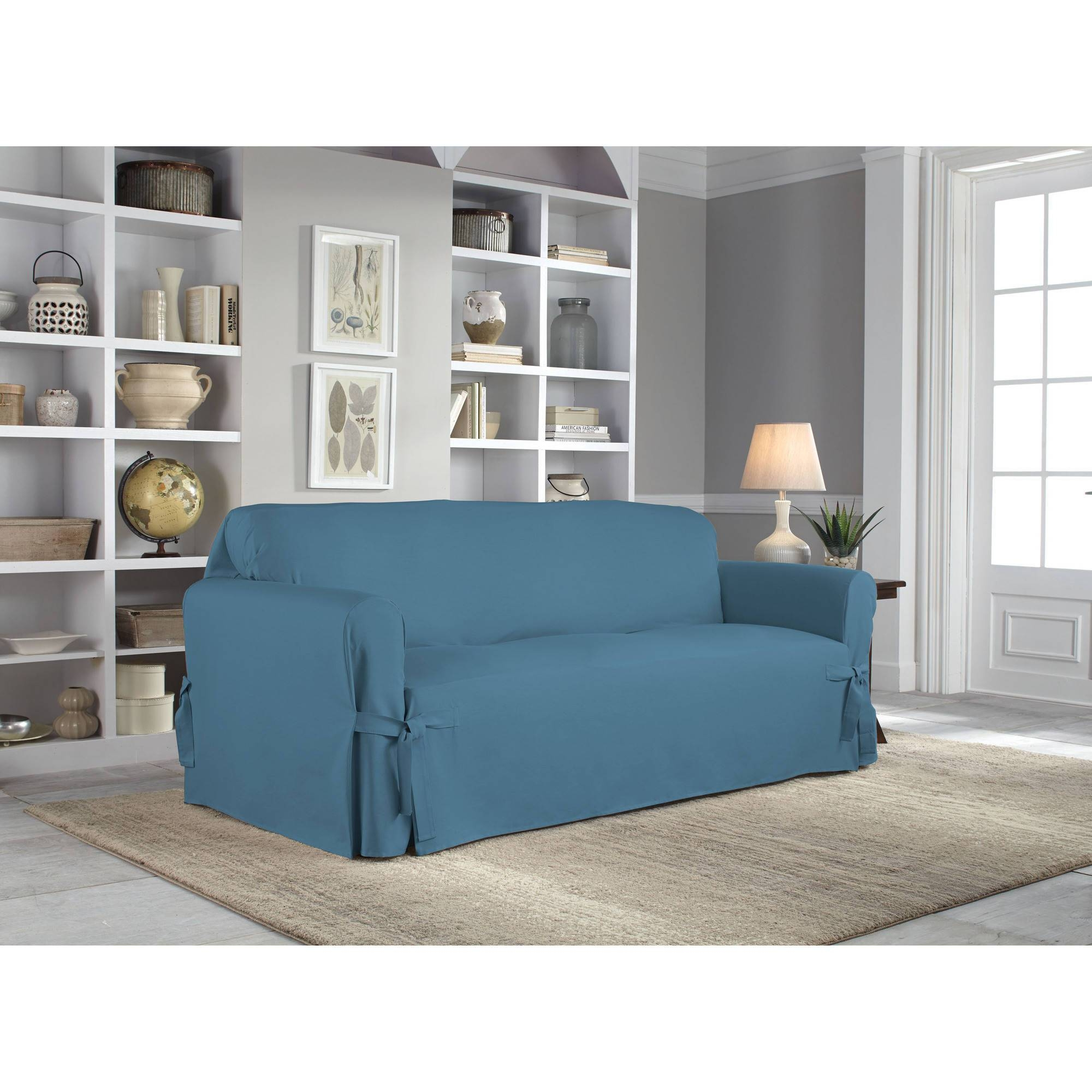Serta Relaxed Fit Duck Furniture Slipcover, Sofa 1-Piece Box inside Teal Sofa Slipcovers (Image 25 of 30)