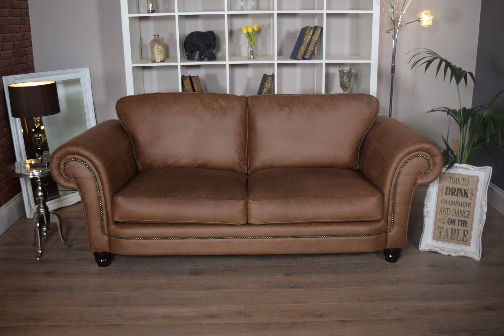 Set Abbey Downton 3 Seater Sofa & Large Cuddle Chair – Tan Fitted Back In 3 Seater Sofa And Cuddle Chairs (View 17 of 30)