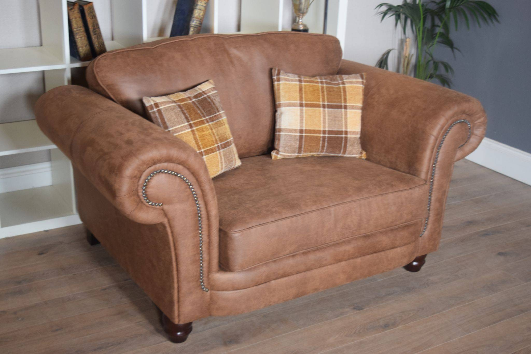 Set Abbey Downton 3 Seater Sofa & Large Cuddle Chair – Tan Fitted Back Regarding 3 Seater Sofa And Cuddle Chairs (View 21 of 30)