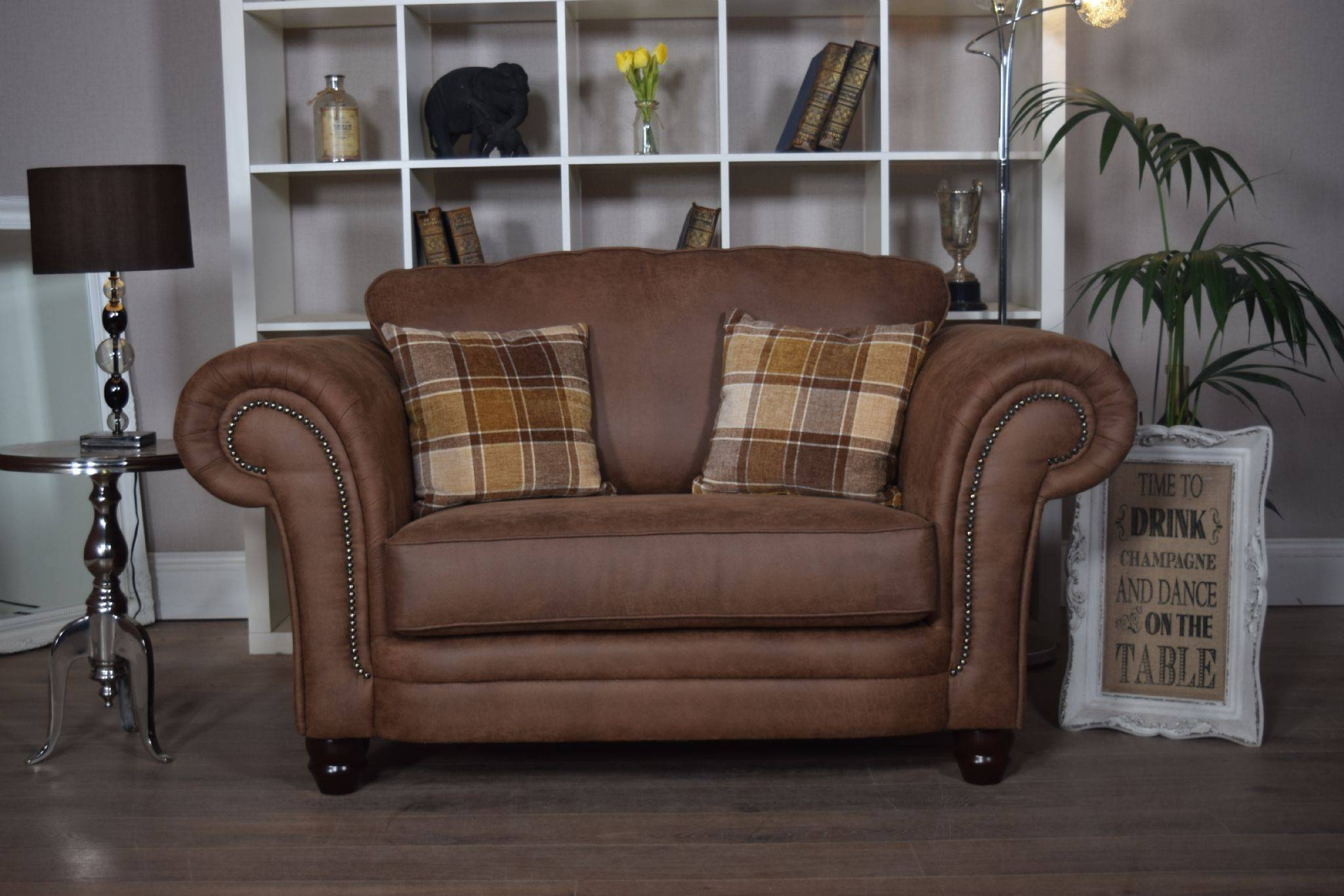 Set Abbey Downton 3 Seater Sofa & Large Cuddle Chair – Tan Fitted Back With Regard To 3 Seater Sofa And Cuddle Chairs (View 20 of 30)