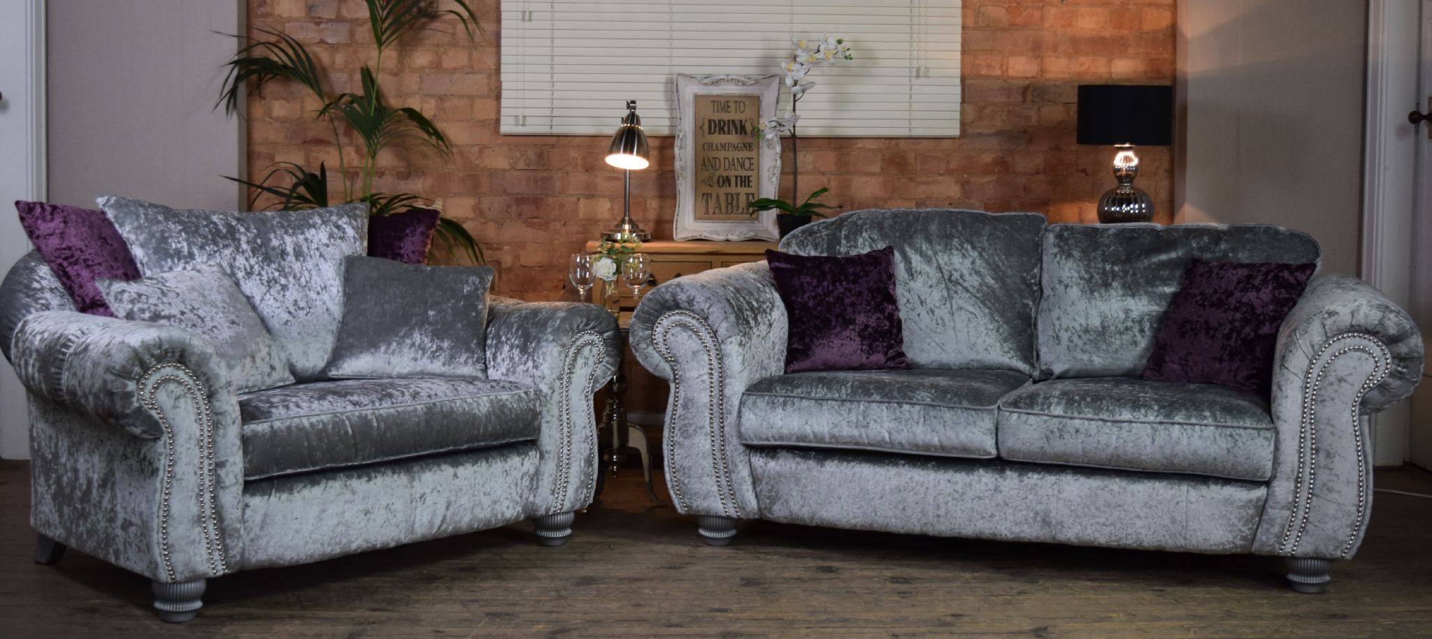 Set Luna Quantas 2 Seater Sofa Cuddle Chair Suite Set – Silver Throughout 3 Seater Sofa And Cuddle Chairs (View 14 of 30)