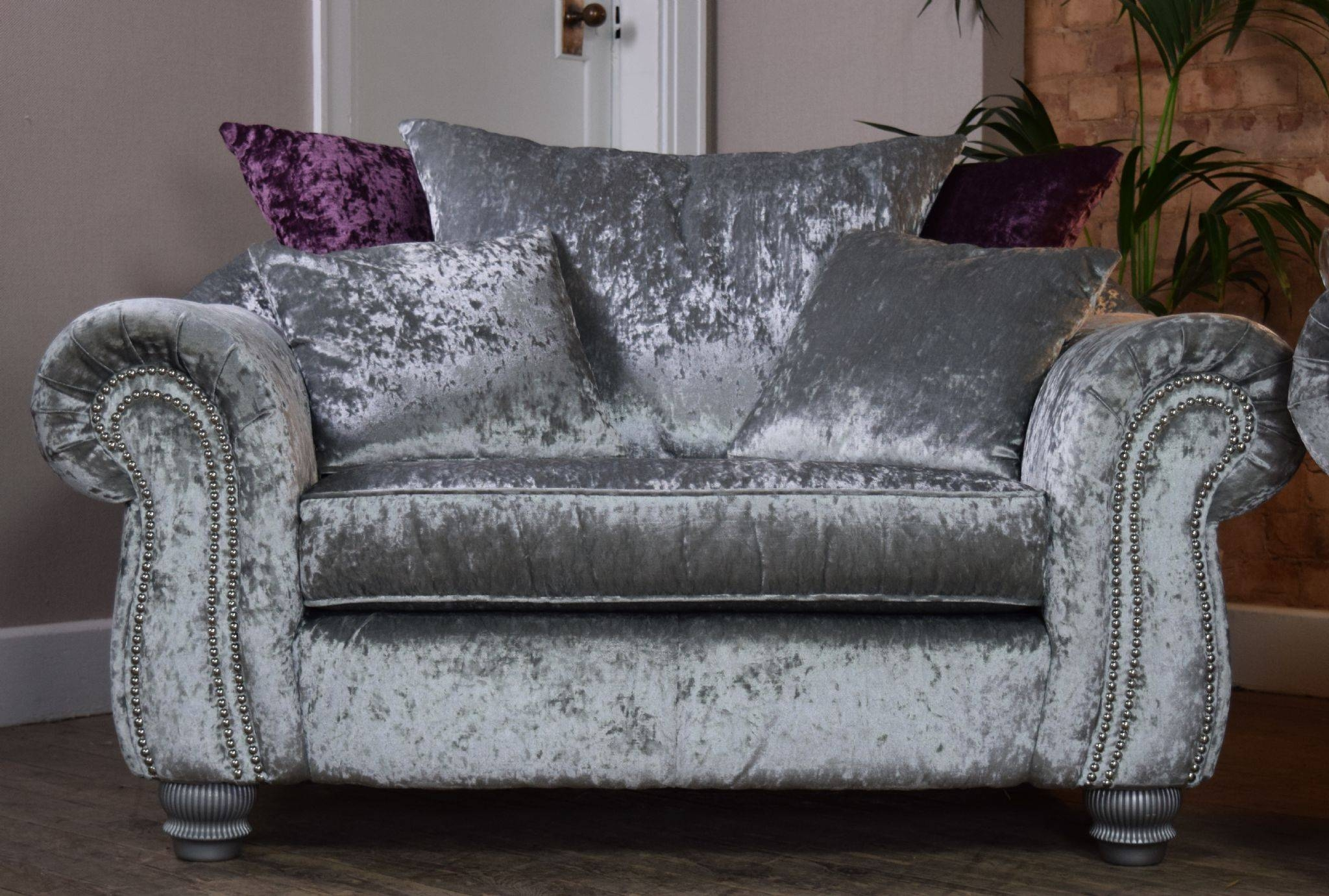 Set Luna Quantas 2 Seater Sofa Cuddle Chair Suite Set – Silver Within 3 Seater Sofa And Cuddle Chairs (View 4 of 30)