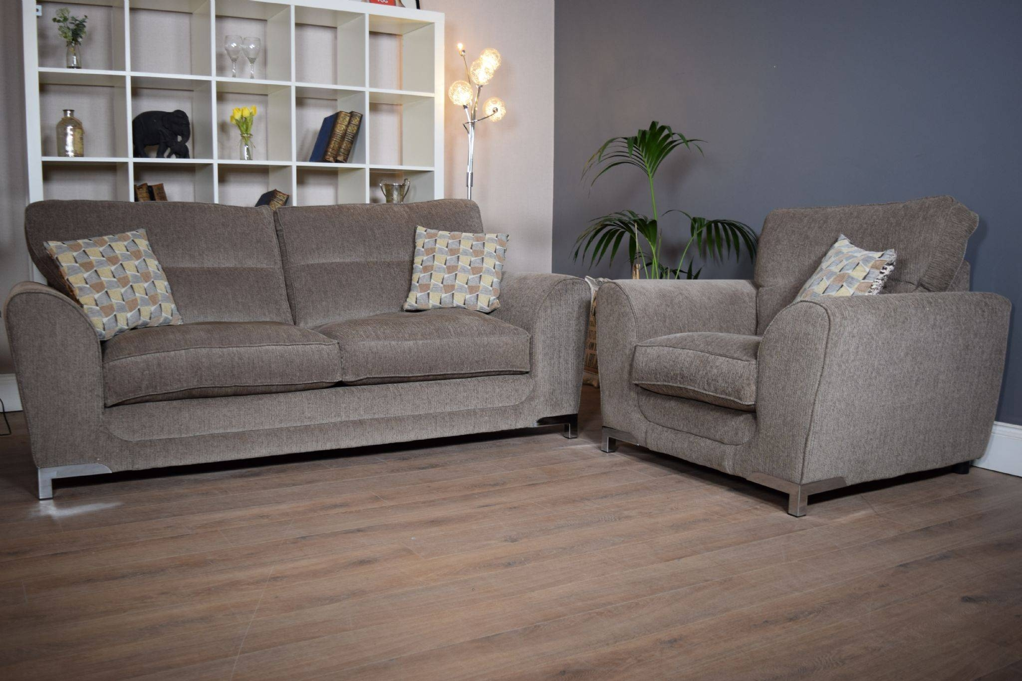 Set Nikki 3 Seater Sofa & Cuddle Chair Suite Set – Mocha Grey With Regard To 3 Seater Sofa And Cuddle Chairs (View 16 of 30)