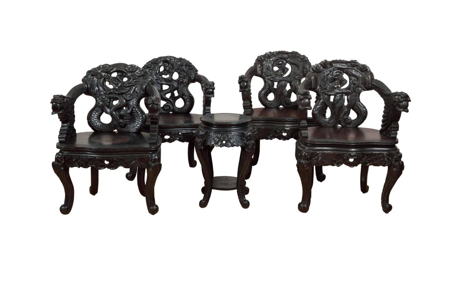 "Set Of Carved Chinese ""Dragon"" Chairs ***sold – Past Perfect Intended For Dragon Coffee Tables (View 24 of 30)"