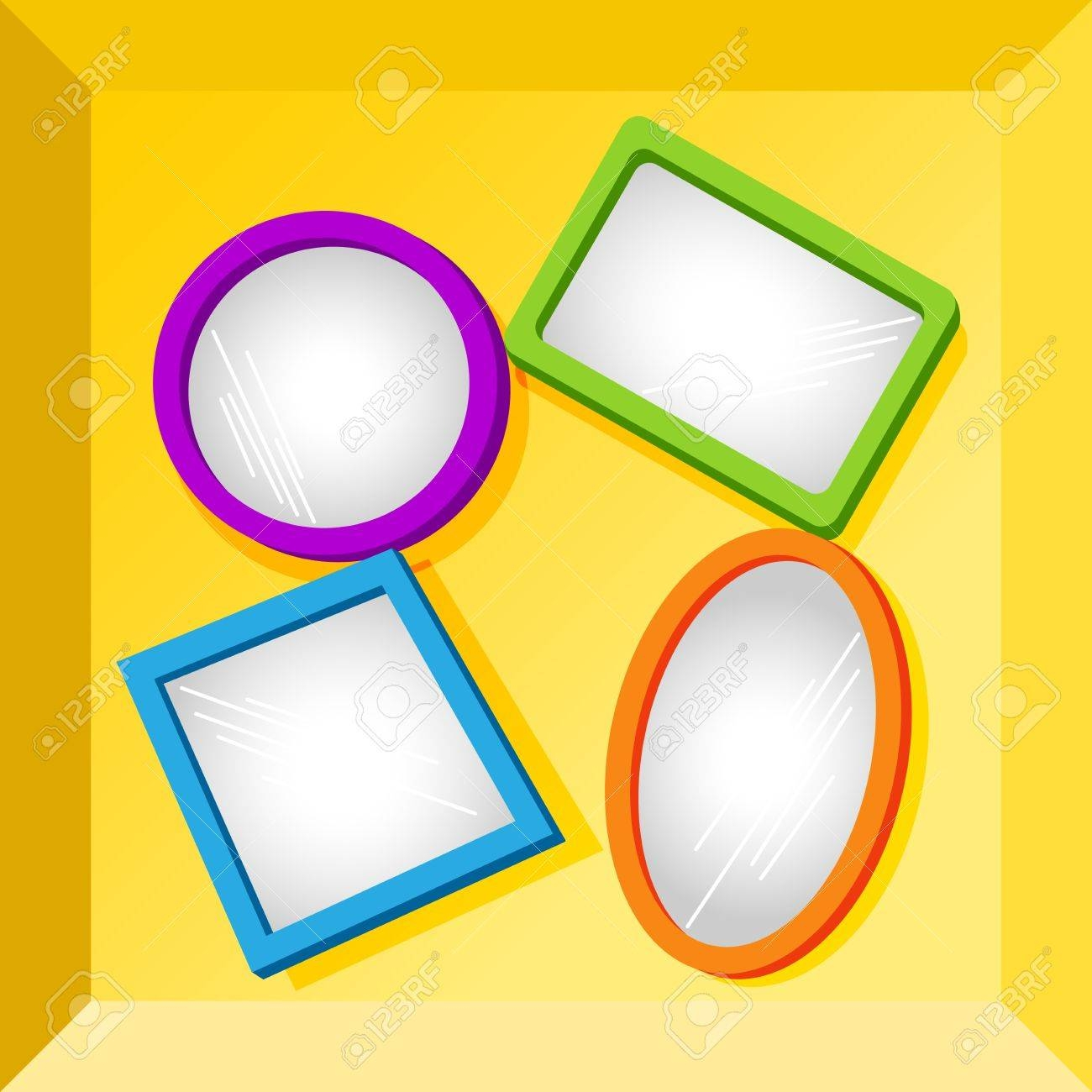 Set Of Empty Frames In Fun Bright Colors For Your Text Or Images in Bright Coloured Mirrors (Image 23 of 25)