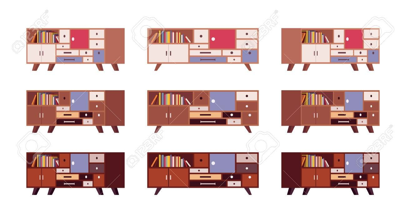 Set Of Retro Sideboards With Drawers And Bookshelves Isolated regarding Retro Sideboards (Image 21 of 30)