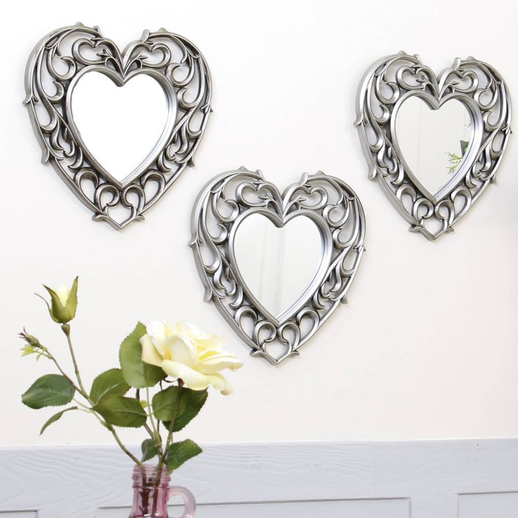 Set Of Three Champagne Heart Wall Mirrorsdibor Within Heart Wall Mirrors (View 20 of 25)