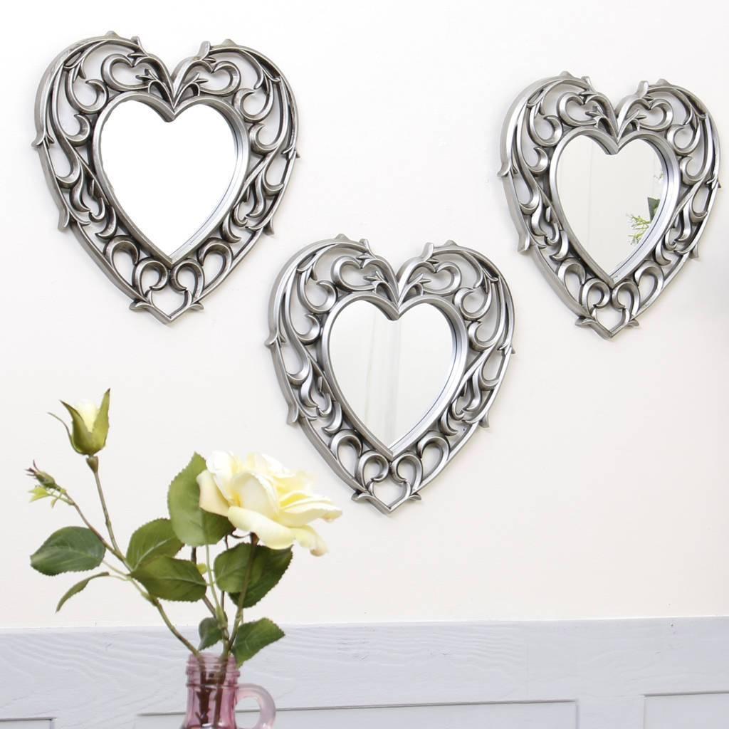 Set Of Three Champagne Heart Wall Mirrorsdibor within Heart Wall Mirrors (Image 20 of 25)