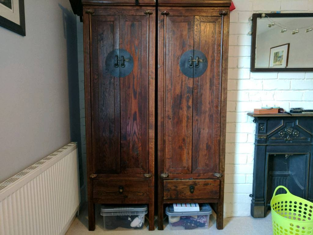 Set Of Two Antique Chinese Wardrobes. | In Harrogate, North for Chinese Wardrobes (Image 14 of 15)